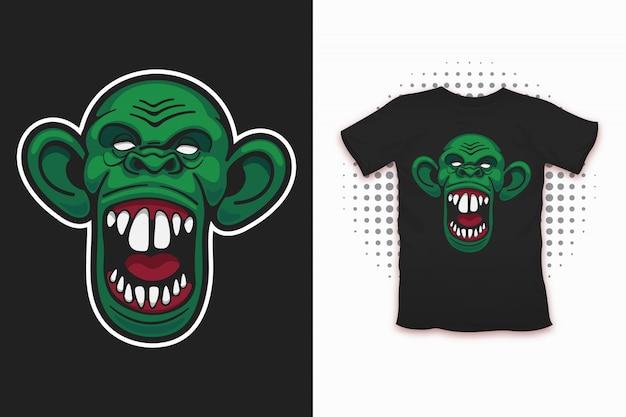 Zombie aap print voor t-shirt design