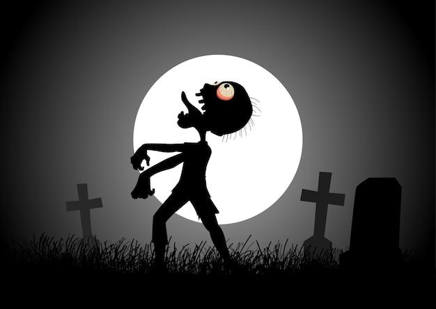 Zombie die op de begraafplaats tijdens volle maan loopt