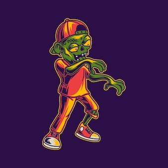 Zombie die zijaanzicht loopt