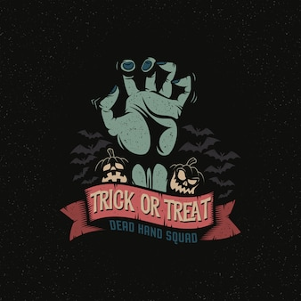 Zombie dode hand met trick or treat op lint. halloween-thema