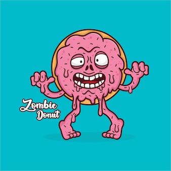 Zombie donut mascotte ontwerp illustratie