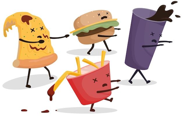 Zombie fastfood, pizza, frisdrank, frites, hamburger