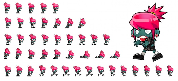 Zombie girl game sprites