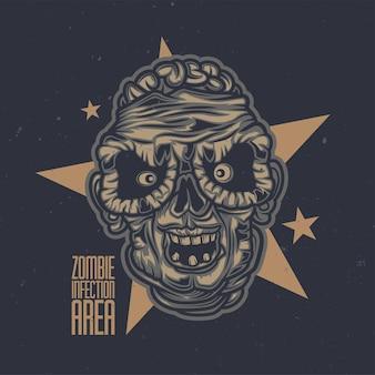 Zombie hoofd illustratie