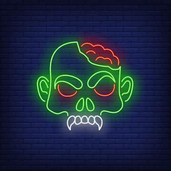 Zombie hoofd met hersenen neon teken