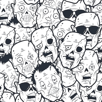 Zombie hoofd naadloos patroon.