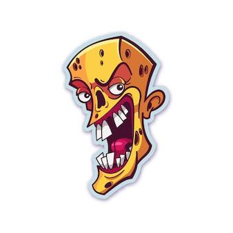 Zombie hoofd sticker