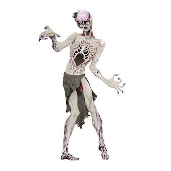 Zombie horror en vector geïsoleerde karakter