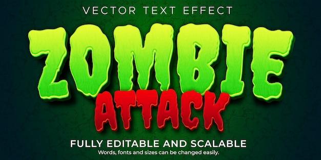 Zombie horror teksteffect, bewerkbaar monster en enge tekststijl