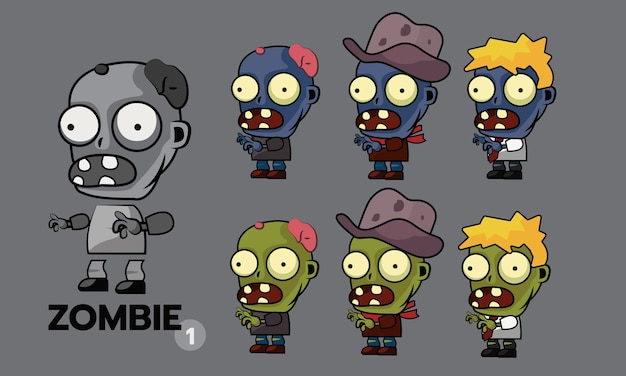Zombie karakter sprites set
