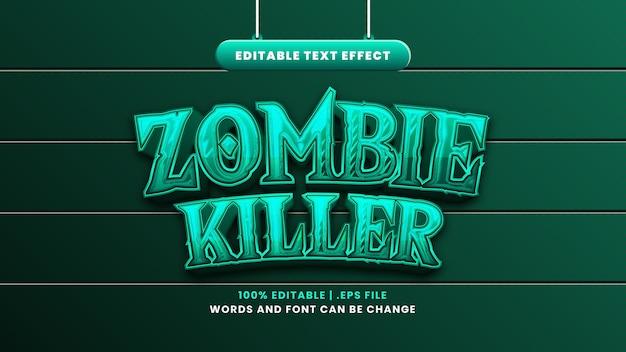 Zombie killer bewerkbaar teksteffect in moderne 3d-stijl