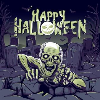 Zombie komt uit het graf illustratie voor halloween happy halloween
