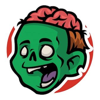 Zombie man hoofd met open hersenen in zijn hoofd