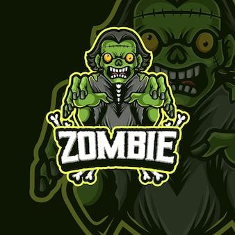 Zombie mascotte esport logo ontwerp