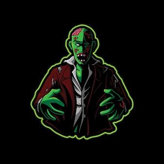 Zombie mascotte logo ontwerp