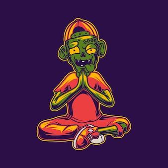 Zombie met ontspanning pose yoga