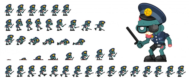 Zombie police game sprite Premium Vector