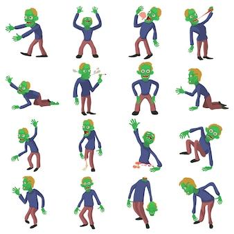 Zombie poses icons set