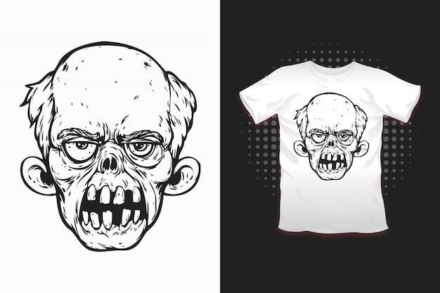 Zombie print voor t-shirt design