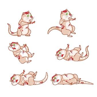 Zombie rat dying cartoon game karakter animatie sprite