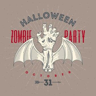 Zombie rotte hand met vleermuisvleugels - halloween lijntekeningen illustratie