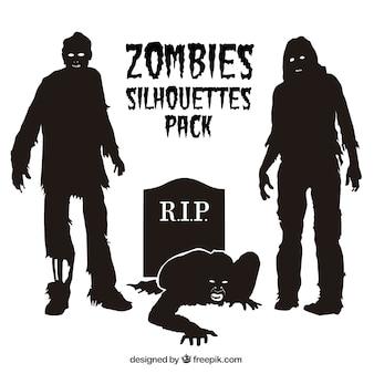 Zombie silhouetten pakken