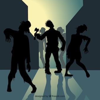 Zombie silhouetten