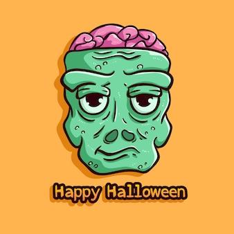 Zombie slechte uitdrukking met happy halloween-tekst op oranje