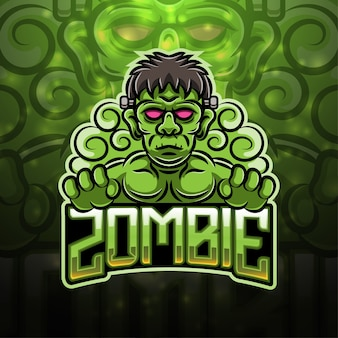 Zombie sport mascotte logo ontwerp