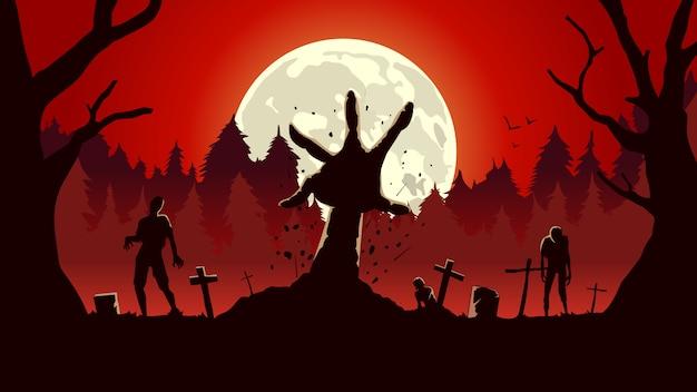 Zombiearm uit grond van graf in een volle maannacht en een rode hemel.