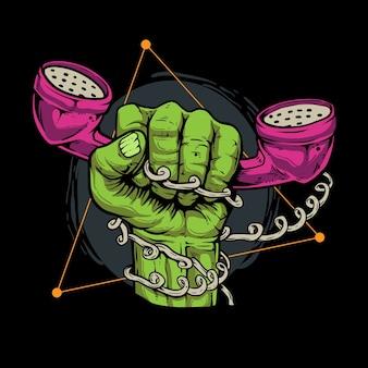 Zombiehand die de telefoonillustratie houdt
