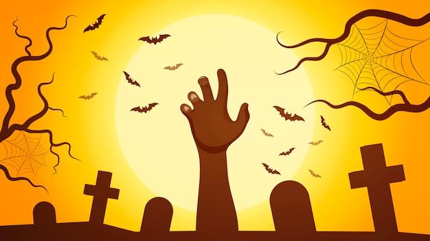 Zombiehand die uit het graf komen