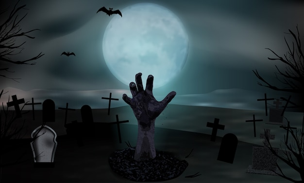 Zombiehand die uit het graf opstaat. kerkhof met grafstenen en maan. halloween achtergrond.
