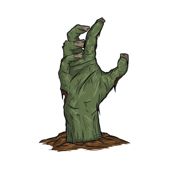 Zombiehand opgestaan uit het land