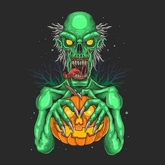Zombies die pompoenenillustratie dragen