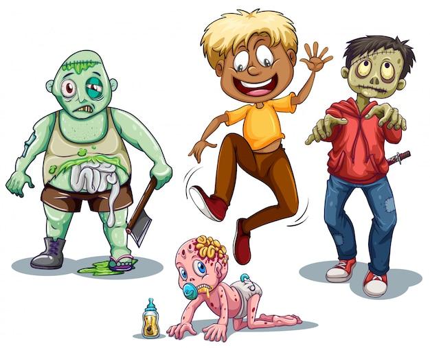 Zombies en man rennen van hen weg