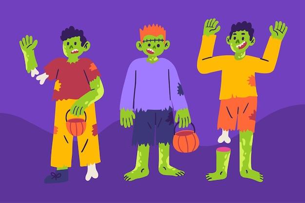 Zombies halloween-collectie illustratie