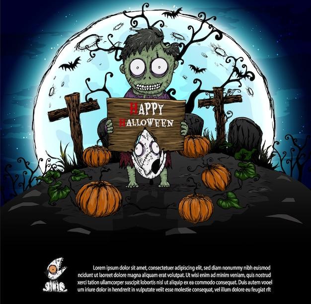 Zombies op halloween-nacht.