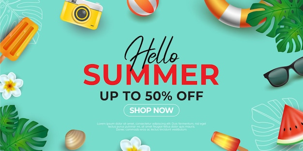 Zomer achtergrond lay-out banners ontwerp horizontale poster wenskaart header