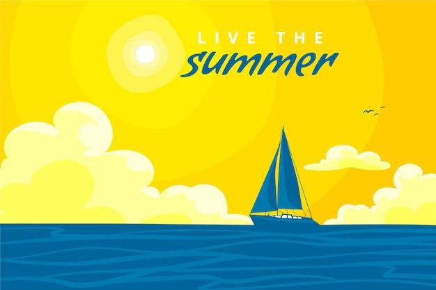 Zomer achtergrond met boot en zon