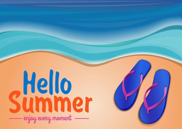 Zomer achtergrond met de zee, slippers liggend op het strand en belettering. hallo zomer. geniet van ieder moment. illustratie
