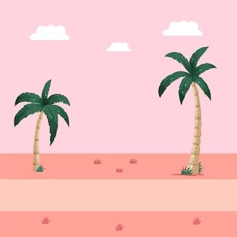Zomer achtergrond met palmbomen.