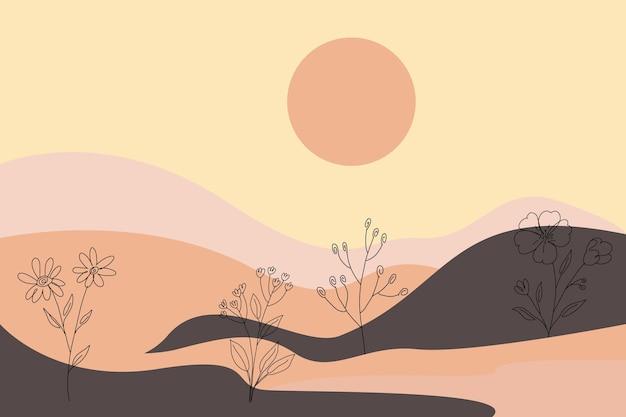 Zomer achtergrond met pastel kleur bladeren lijntekeningen halverwege de eeuw