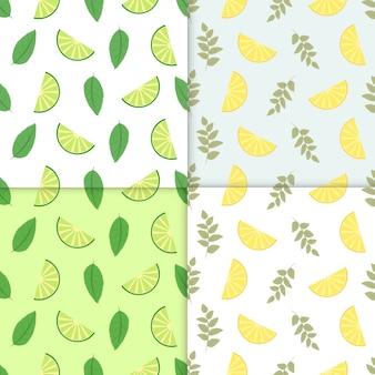 Zomer achtergrond. set van vector eenvoudige kleurrijke naadloze patronen - verschillende vruchten. kalk en citroen naadloos patroon met sappige limoenen en bladeren. koele verfrissende zomer mojito achtergrond.