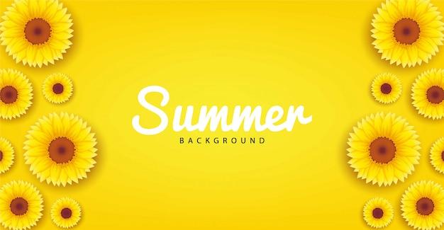 Zomer achtergrondontwerp met een bloeiende zonnebloem thema