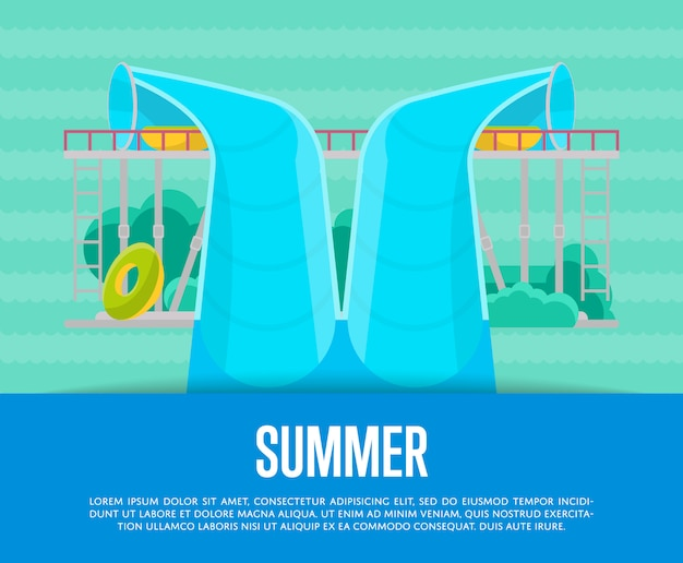 Zomer aquapark poster met waterbuis