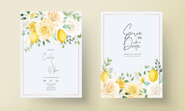 Zomer aquarel bloemen met botanische citroen fruit trouwkaart