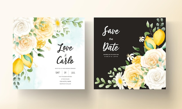 Zomer aquarel bloemen met botanische citroen fruit trouwkaarten set Premium Vector