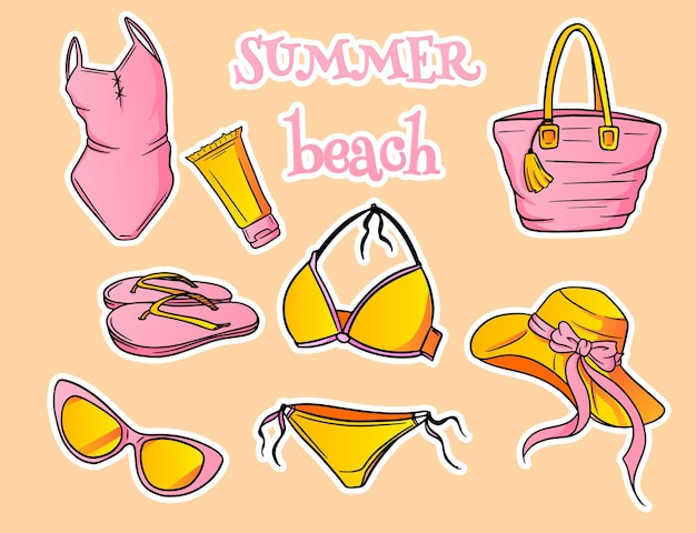 Zomer artikelen. strandartikelen voor dames. badkleding, hoed, zonnebril, slippers, zonnebrandcrème, strandtas. cartoon-stijl. Premium Vector