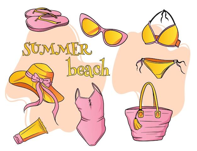 Zomer artikelen. strandartikelen voor dames. badkleding, hoed, zonnebril, slippers, zonnebrandcrème, strandtas. tekenfilm.